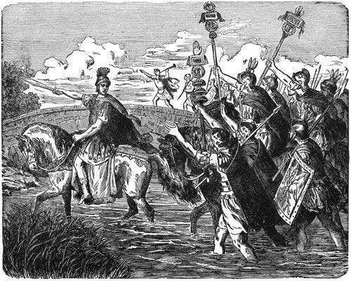 Julio César cruza el Rubicón con sus legiones