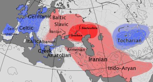 Lenguas indoeuropeas en su división tradicional: centum y satem