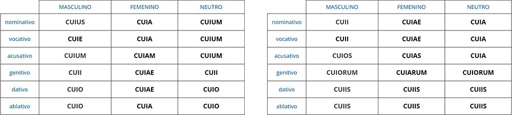 Declinación de CUIUS, CUIA, CUIUM