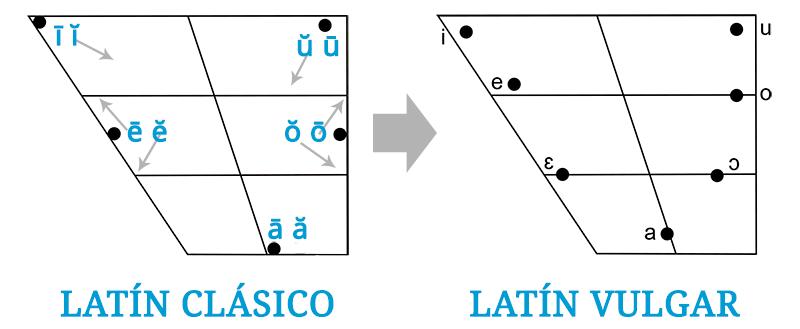 Evolución del sistema vocálico de 10 vocales del latín clásico al del latín vulgar de 7 vocales