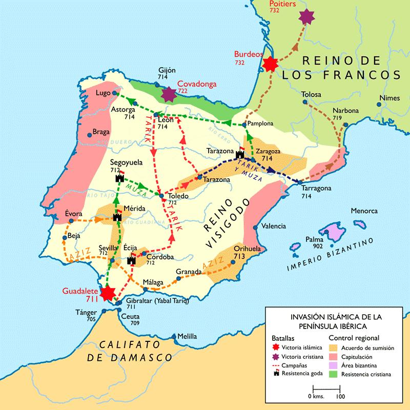 Mapa: invasión musulmana de la península ibérica