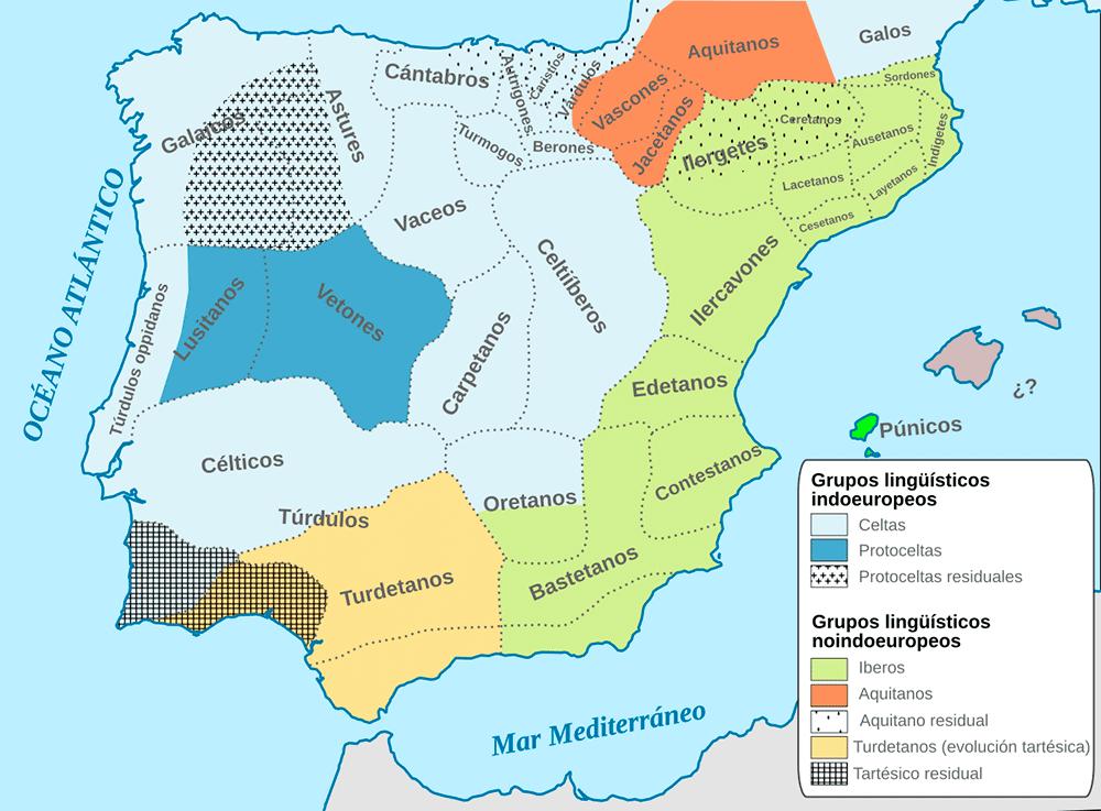 Mapa etnográfico de la península ibérica hacia el 200a.C.