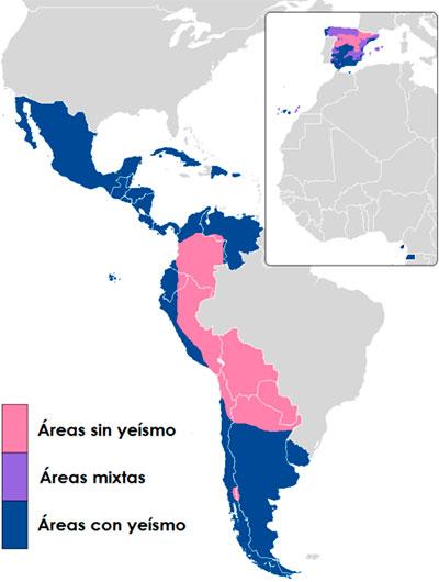 Mapa del yeísmo en los dominios hispanohablantes
