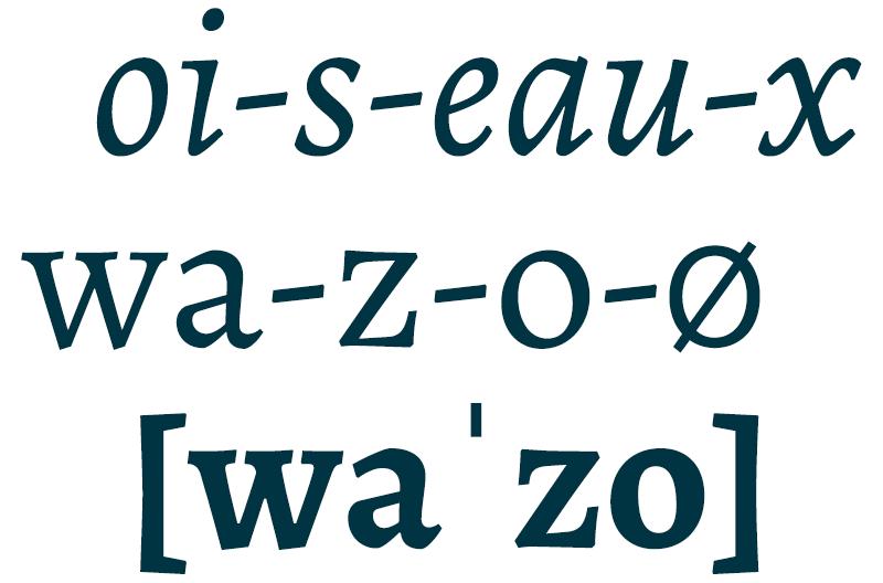 'Oiseaux' se pronuncia wazó