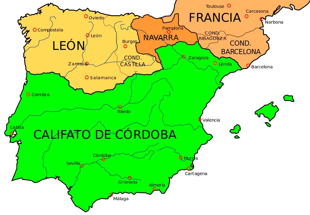 La península ibérica hacia el año 1000, con el condado de Castilla dependiente del reino de León