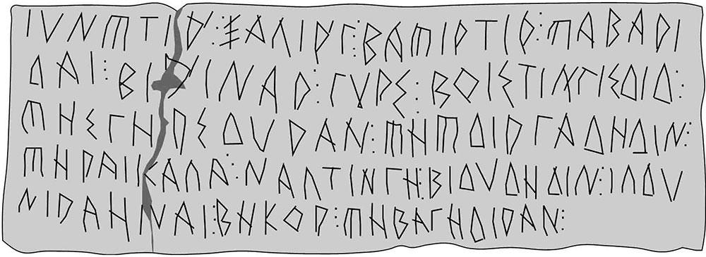 Reproducción de una inscripción en alfabeto grecoibérico