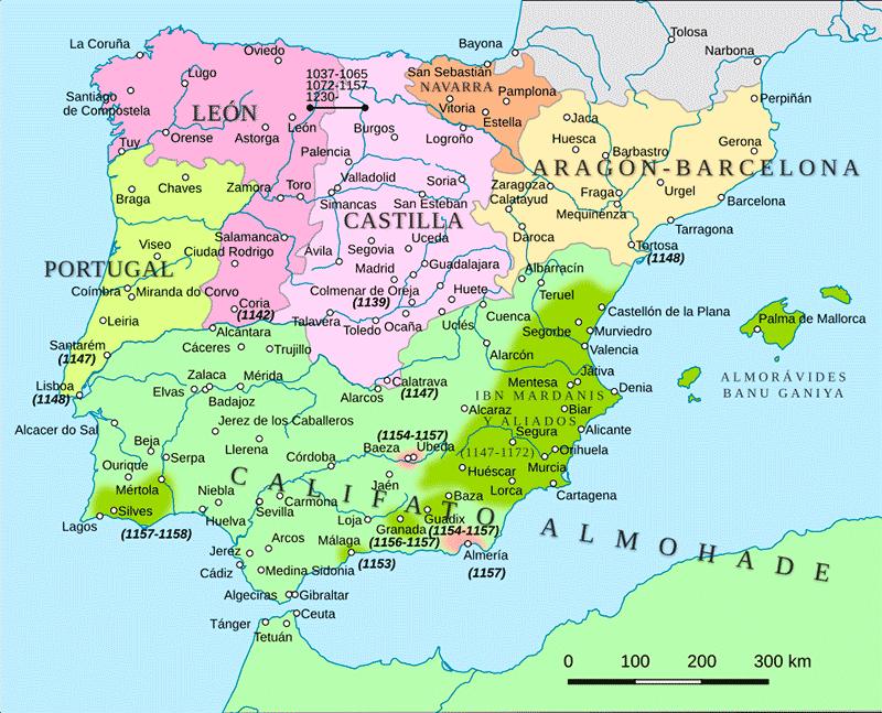 La península ibérica hacia el año 1150, con el reino de Castilla en ascensión